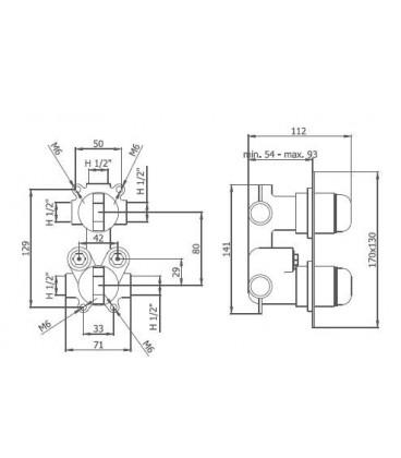Thermostatique à encastrer avec coupure d'eau 1 à 3 voies