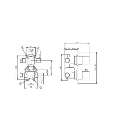 Mitigeur thermostatique à encastrer KALA ZEROº avec coupure d'eau 1 à 3 voies