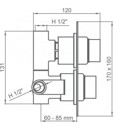 Mitigeur thermostatique à encastrer avec coupure d'eau 1 à 3 voies KALA