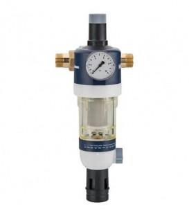 Dispositif de filtrage d'eau sanitaire raccord + manometre inclus DN20 (3/4) avec réducteur de pression