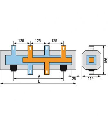 """Repartiteur de cuve WS Type HV-4 4 groupes avec isolation 1"""", acier galvanisé"""