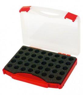 Mallette vide en plastique pour 40 gicleurs - couvercle transparent livrée sans gicleurs