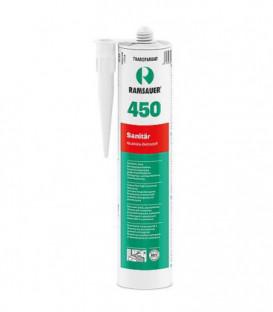 Silicone sanitaire 450 gris clair, masse d´étanchéité haut de gamme à base de silicone 310ml