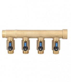 "Répartiteur 4 circuits mal/fem DN20 (3/4"") avec robinet male DN15 (1/2"")"