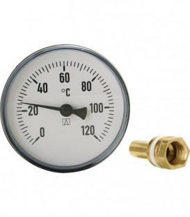 Thermomètre à cadran avec système de mesure bimétallique 0-120°C d 100mm avec sonde 200mm