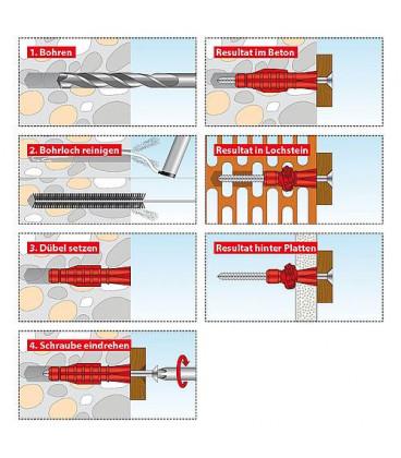 Chevilles polyvalentes TRI 6x51 emballage 100 pieces