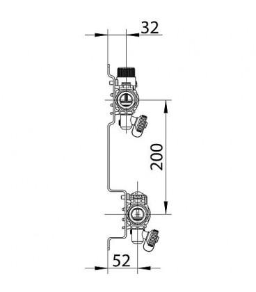 collecteur de plancher chauffant Inox Type Dynacon 6 circuits