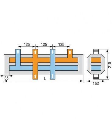 """Distributeur de chaudière WS type HVI-2 2 groupes chauffants 1"""" incl. Isolation thermique sEparée"""