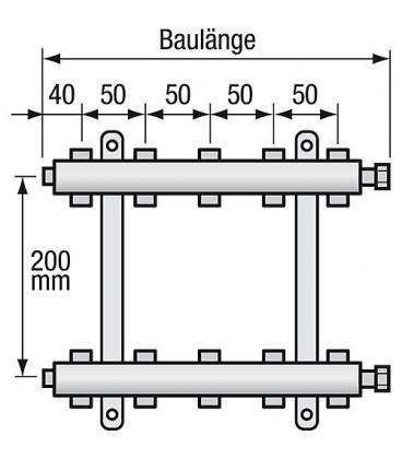 "Repartiteur de chauffage Strawa Type e-class 6304 4groupes ecrou chapeau 1"""