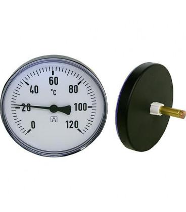 Thermometre a aiguilles bimetal 0-120°C diam 100 mm, corps en plastique Livrable seulement en plastique