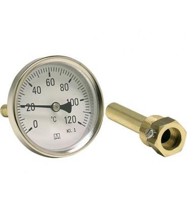 Thermometre industriel bimetal G 1/2 axial, Kl. 1 0/120°C BiTh 80