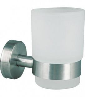 Gobelet en verre Axial verre satiné, inox mat avec fixation
