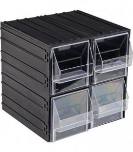 Boite de stockage av 4 tiroirs gris/vert L : 225mm, l : 225mm, h : 225mm SchulLaden: L : 101mm,l : 198mm, h : 103mm