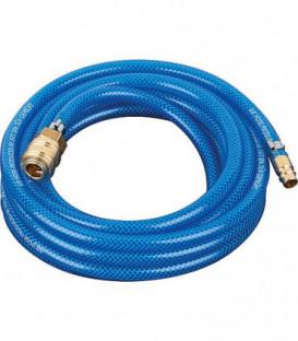 Flexible pneumatique avec raccords (Accouplement et douille a enficher) L : 10m/6x10mm/15 bars