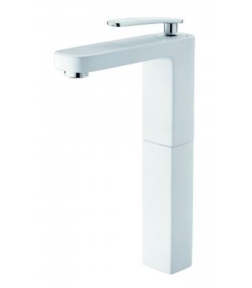 Mitigeur lavabo blanc réhaussé